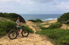 Heading to the beach on a fat bike